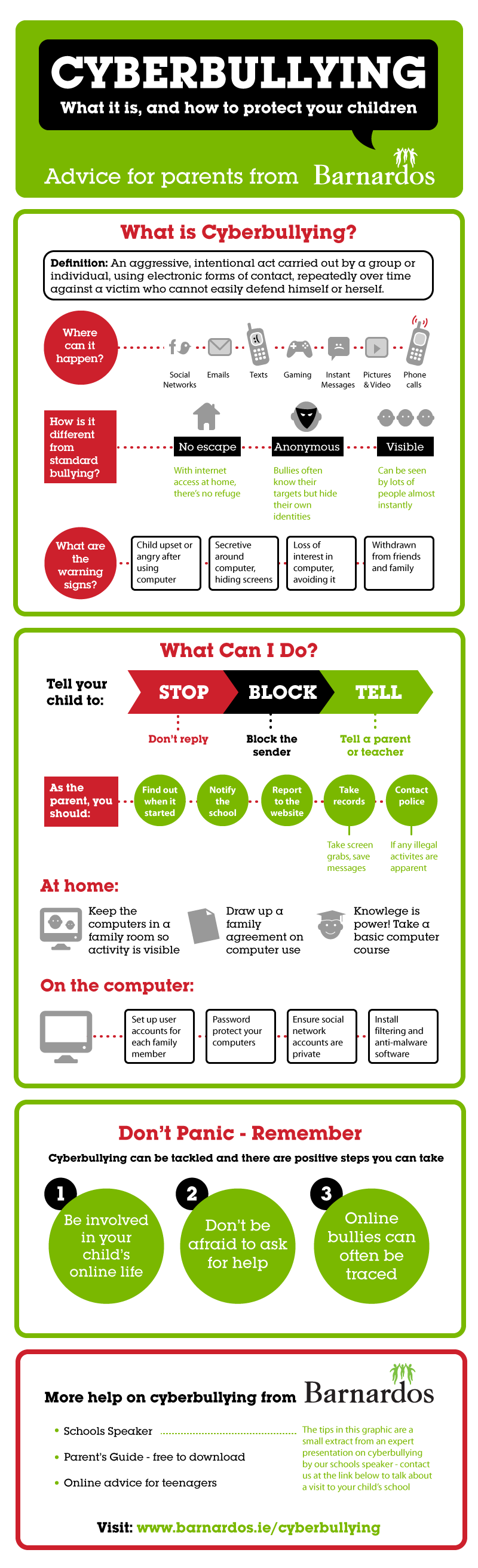 cyberbullying advice   infographic barnardos ireland
